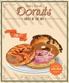 stock photo of donut  - Vintage donuts poster with label - JPG