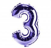 Purple Chrome balloon font part of full set of numbers, number three , 3