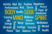 Body Mind Soul Spirit word cloud on blue background