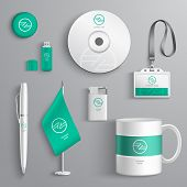 image of emerald  - Corporate identity emerald design stationery collection set isolated vector illustration - JPG