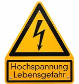picture of voltage  - High voltage sign in Germany - JPG