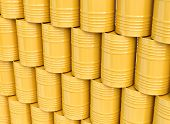 Stack of yellow oil barrels