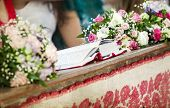 stock photo of church interior  - Vintage photo of beautiful flowers wedding decoration in a church - JPG