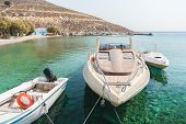 Sea Harbor With Clear Turcuoise Water On Greek Island Kalymnos