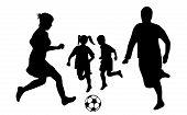 Family soccer silhouette