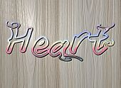Relief Heart Text On Wooden Background