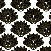 Gold And Black Floral Emblem Design Seamless Pattern