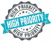 High Priority Vintage Turquoise Seal Isolated On White