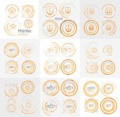 Thin line neat design large logo collection - 36 clean modern icons and stamps