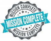 Mission Complete Vintage Turquoise Seal Isolated On White