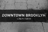 Downtown Brooklyn sign painted on floor in New Your NYC USA