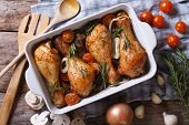 pic of fried chicken  - Baked chicken legs with vegetables close - JPG