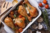 Baked Chicken Drumsticks With Vegetables Closeup Horizontal Top View