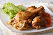 Delicious Chicken Legs With Mushrooms Horizontal Close-up