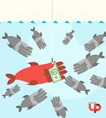 pic of money  - first among competitors. Money on a hook. Fish and