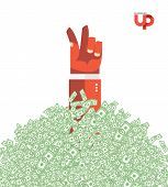 Hand And Money. The Hand Of The Winner In A Heap Of Money. Business Illustration