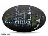 Vector concept or conceptual abstract word cloud on black background as metaphor for health, nutrition, diet, wellness, body, energy, medical, fitness, medical, gym, medicine, sport, heart or science