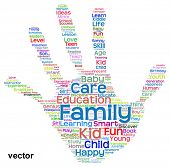 Vector concept conceptual education abstract hand print word cloud, metaphor to child, family, school, life, learn, knowledge, home, study, teach, educational, achievement, childhood, teen handprin