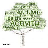 Vector concept or conceptual green text word cloud or tagcloud tree isolated on white background, metaphor to health, nutrition, diet, healthy, wellness, body, energy, medical, sport, heart or science