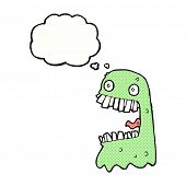 foto of gross  - cartoon gross ghost with thought bubble - JPG