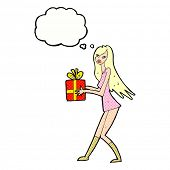 cartoon fashion girl with present with thought bubble