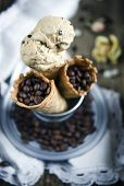 Coffee ice cream cone