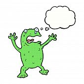 cartoon frightened frog with thought bubble