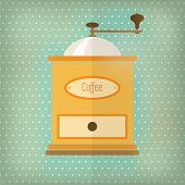 Retro style coffee grinder, with drawer and label, over faded turquoise polka dot background. EPS10 vector format
