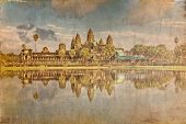Angkor Wat Temple in grunge and retro style, Siem reap, Cambodia.