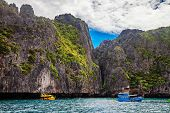 Boats near the islands in Andaman sea near Phi Phi islands. Thailand