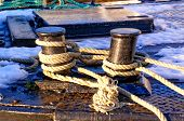 Gray Ropes Tied To Cum On The Fishing Boat