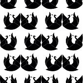 stock photo of black swan  - seamless pattern with black swan on white background - JPG