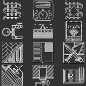 stock photo of floor heating  - Set of white flat line vector icons for heated floor service or store on black background - JPG