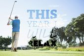 Golf player taking a shot against this year i will relax