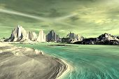 3D Rendered Fantasy Alien Planet. Rocks And Lake