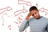 Man with headache against arrows pointing to exclamation mark