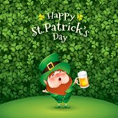 Happy Saint Patricks Day. Leprechaun in clover leaves background.