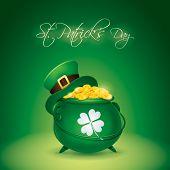 St Patricks Day symbol. Leprechaun hat and pot of gold