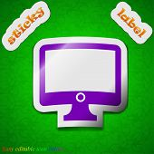 Computer Widescreen Monitor Icon Sign. Symbol Chic Colored Sticky Label On Green Background. Vector