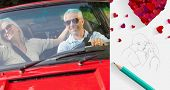 Happy mature couple in red cabriolet against sketch of kissing couple with pencil