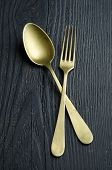 Golden Spoon And A Fork