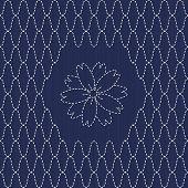 Traditional Japanese Embroidery Ornament with sakura flower. Sashiko. Vector seamless pattern.
