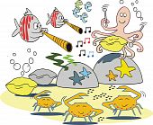 Funny fish musical cartoon