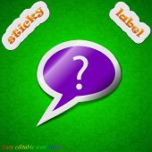 Question Mark Icon Sign. Symbol Chic Colored Sticky Label On Green Background. Vector