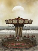 foto of fantasy  - Fantasy landscape in the beach with flying chairs - JPG