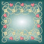 pic of macrame  - Card with frame of ropes knots and beads in the shape of heart - JPG