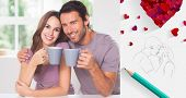 Couple looking at the camera with a coffee against sketch of kissing couple with pencil