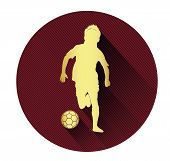 Golden soccer player icon with long shadow effect