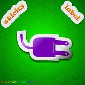 Electric Plug Icon Sign. Symbol Chic Colored Sticky Label On Green Background. Vector