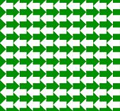 Green and white arrows pointing to opposite directions, a seamless pattern